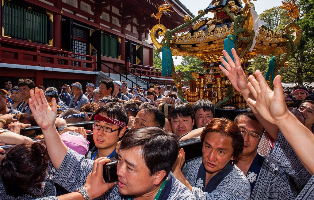 Stock Photo: 1566-1236086 Sanja Matsuri Festival, Sensoji Temple, Asakusa Jinja, Asakusa, Tokyo, Japan, Asia