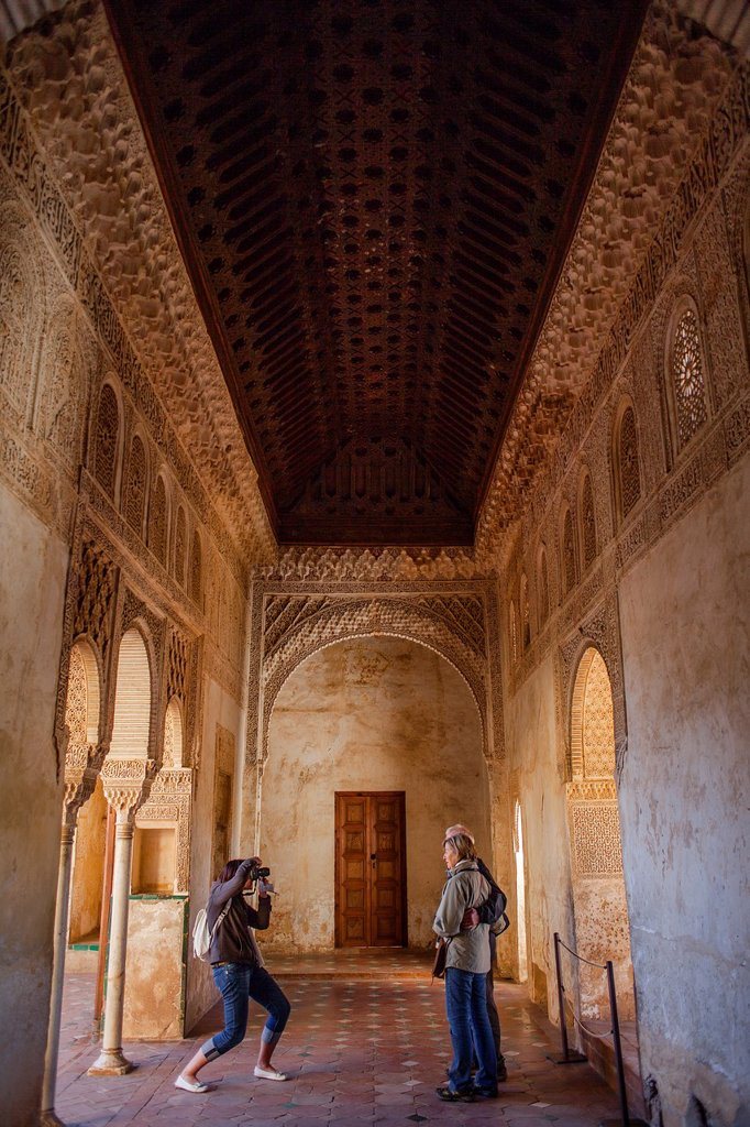 Patio de la Acequia courtyard of irrigation ditch Sala Regia or palace of Generalife  El Generalife  La Alhambra  Granada  Andalusia : Stock Photo