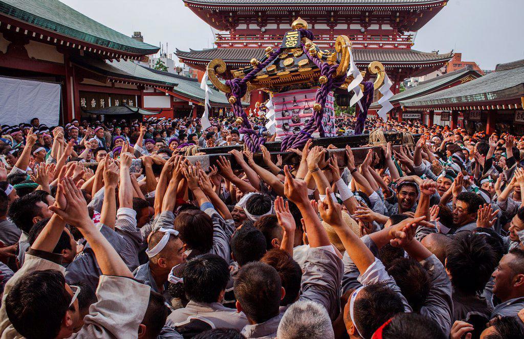Stock Photo: 1566-1236099 Sanja Matsuri Festival, Sensoji Temple, Asakusa Jinja, Asakusa, Tokyo, Japan, Asia