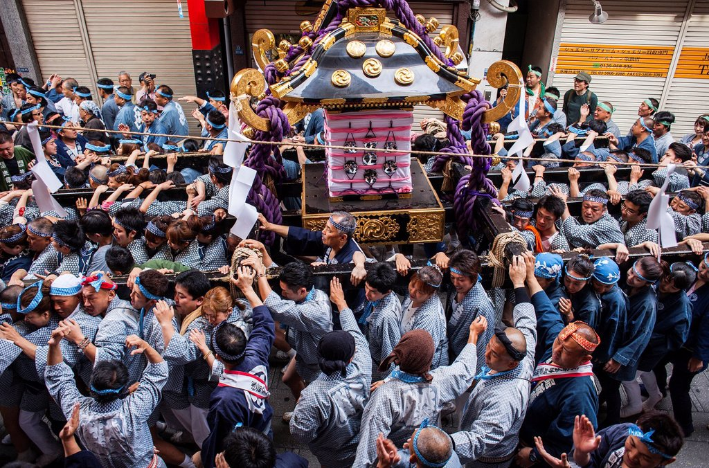 Stock Photo: 1566-1236103 Sanja Matsuri Festival, street next to Sensoji Temple, Asakusa, Tokyo, Japan, Asia