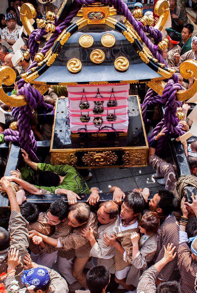 Sanja Matsuri Festival, street next to Sensoji Temple, Asakusa, Tokyo, Japan, Asia : Stock Photo
