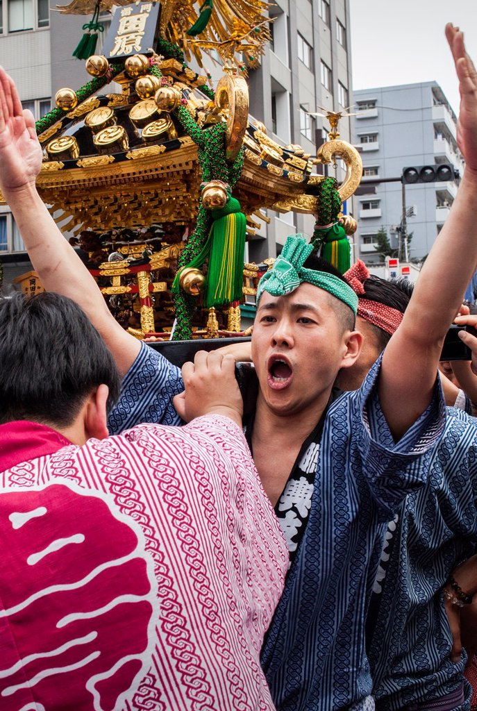 Stock Photo: 1566-1236124 Sanja Matsuri Festival, in Kaminarimon dori,next to Sensoji Temple, Asakusa, Tokyo, Japan, Asia