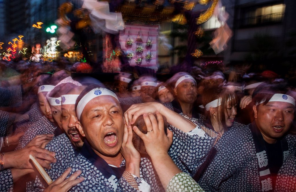 Stock Photo: 1566-1236145 Sanja Matsuri Festival, in Kaminarimon dori,next to Sensoji Temple, Asakusa, Tokyo, Japan, Asia