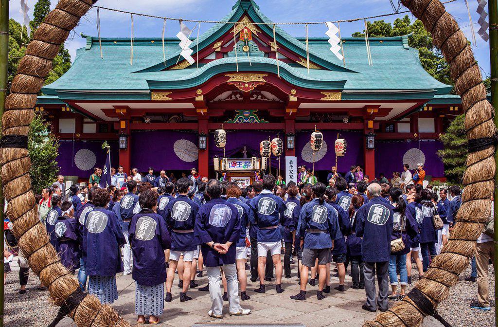 Stock Photo: 1566-1236242 Reisai Hohei ceremony during Sanno Matsuri, in HieJinja shrine, Nagata-cho Tokyo city, Japan, Asia