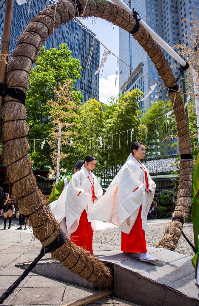Stock Photo: 1566-1236251 Reisai Hohei ceremony during Sanno Matsuri, in HieJinja shrine, Nagata-cho Tokyo city, Japan, Asia