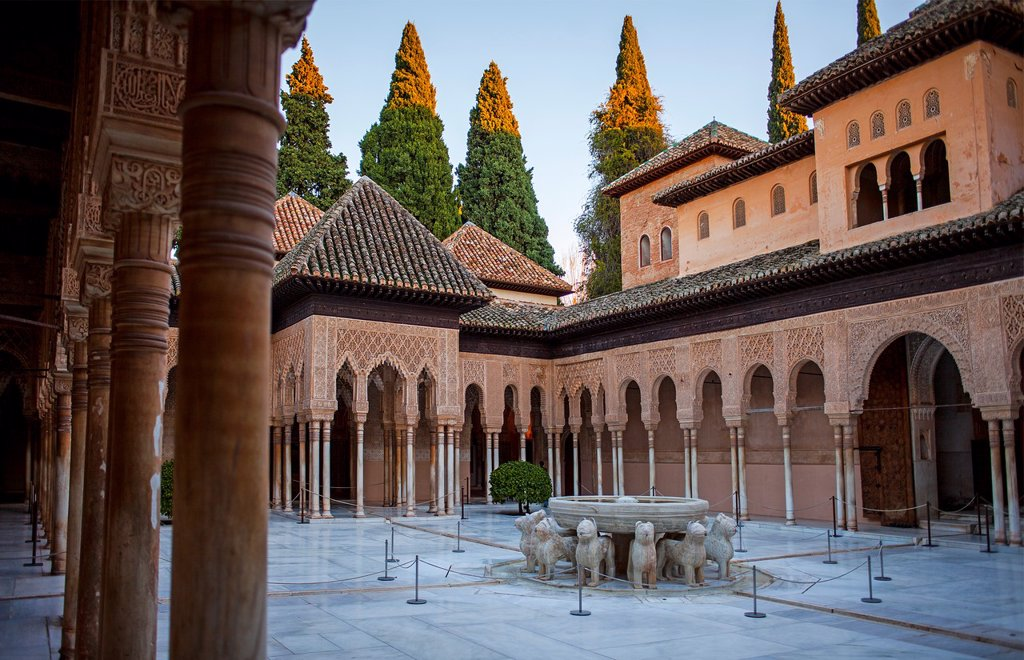 Stock Photo: 1566-1236256 Courtyard of the lions  Palace of the Lions  Nazaries palaces Alhambra, Granada  Andalusia, Spain