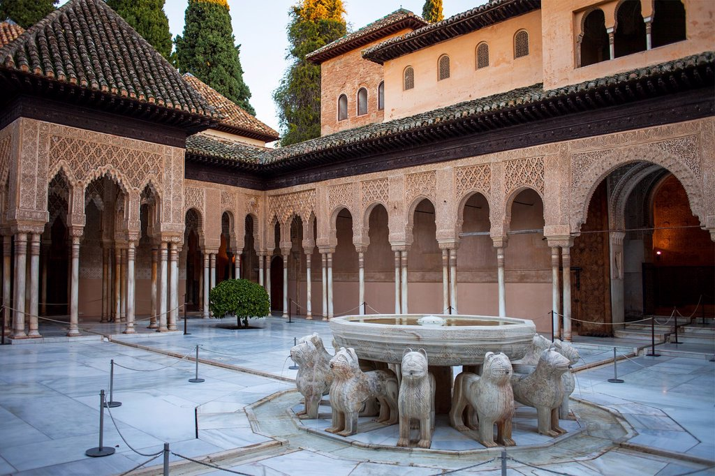 Stock Photo: 1566-1236273 Lions fountain Courtyard of the lions  Palace of the Lions  Nazaries palaces Alhambra, Granada  Andalusia, Spain