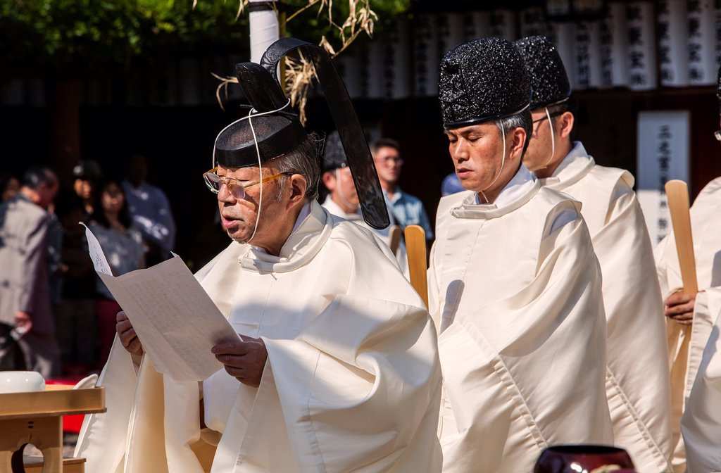 Stock Photo: 1566-1236280 Sanno Oharai and Chinka-sai purification ceremony during Sanno Matsuri, in HieJinja shrine, Nagata-cho Tokyo city, Japan, Asia