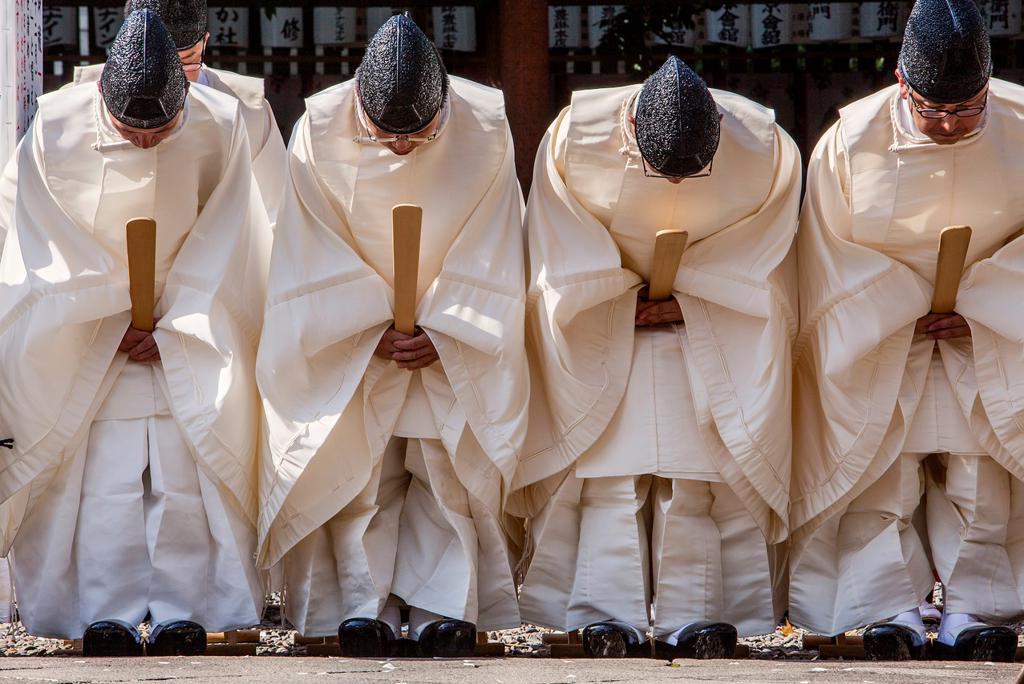 Sanno Oharai and Chinka-sai purification ceremony during Sanno Matsuri, in HieJinja shrine, Nagata-cho Tokyo city, Japan, Asia : Stock Photo