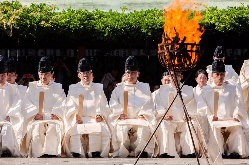 Stock Photo: 1566-1236283 Sanno Oharai and Chinka-sai purification ceremony during Sanno Matsuri, in HieJinja shrine, Nagata-cho Tokyo city, Japan, Asia
