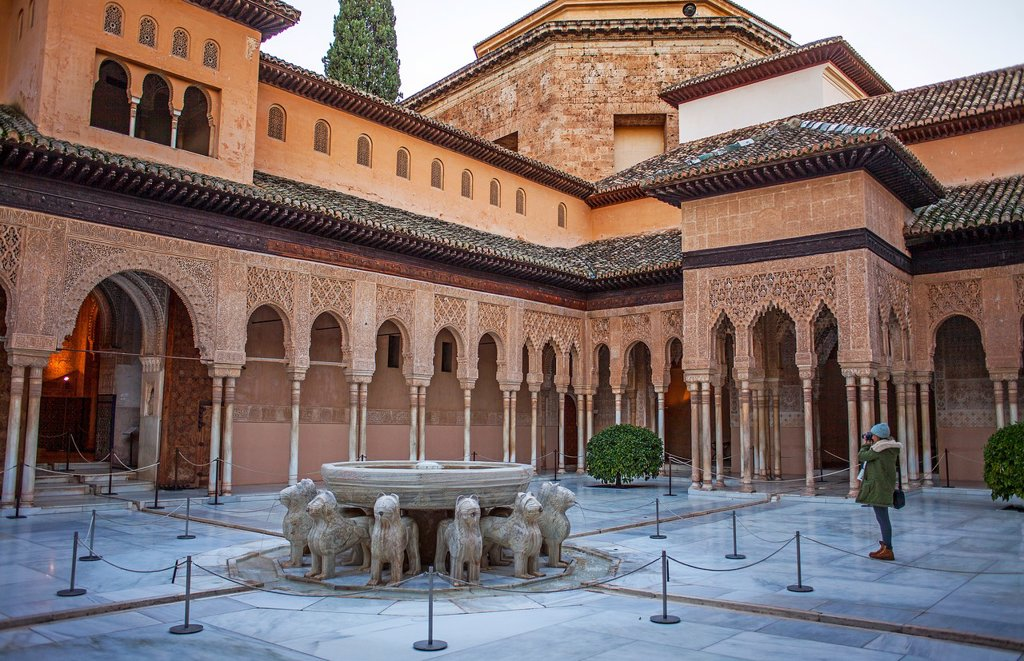 Stock Photo: 1566-1236290 Lions fountain Courtyard of the lions  Palace of the Lions  Nazaries palaces Alhambra, Granada  Andalusia, Spain