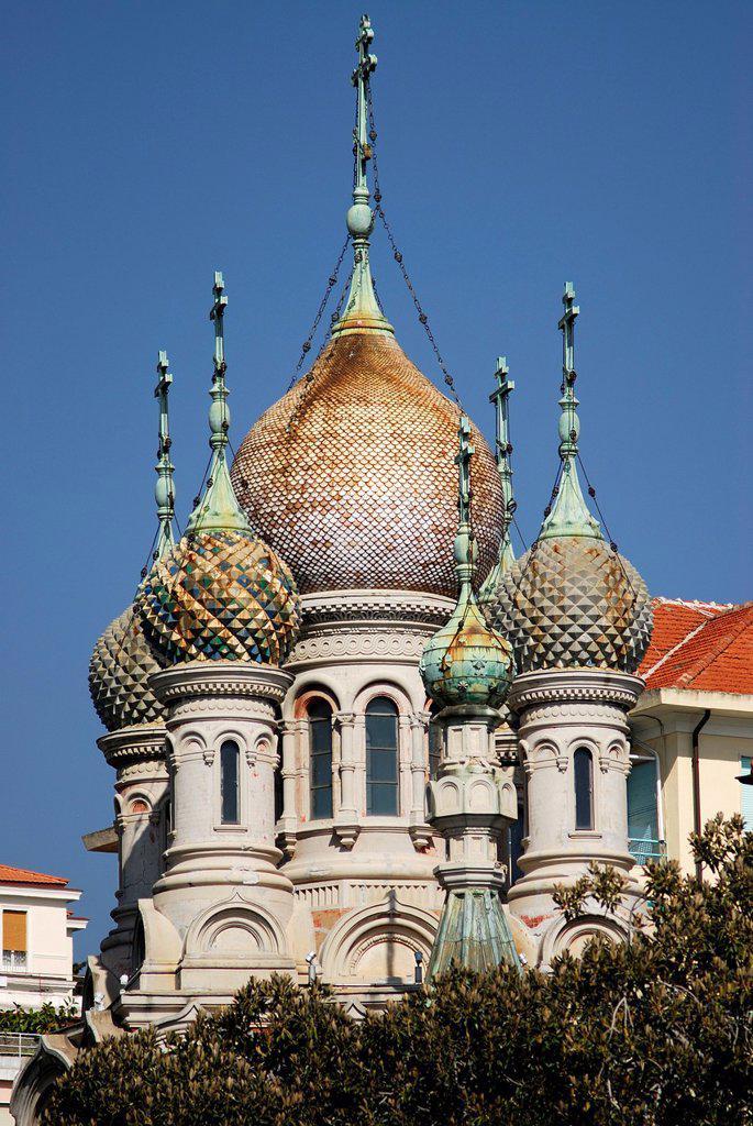 Stock Photo: 1566-1240934 Orthodox russian church in San Remo, Imperia, Liguria, Italy