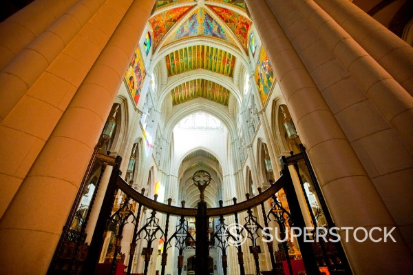 Stock Photo: 1566-1241276 Almudena Cathedral in Madrid Spain, Europe