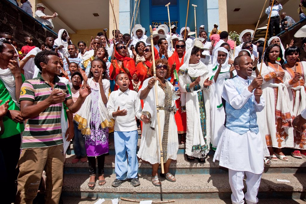 Ethiopian People Celebrating Timkat The Festival of Epiphany, Gondar, Ethiopia : Stock Photo