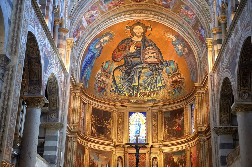 Stock Photo: 1566-1241671 Medieval Byzantine style mosaics of Christ in the interior of the Duomo, Pisa, Italy