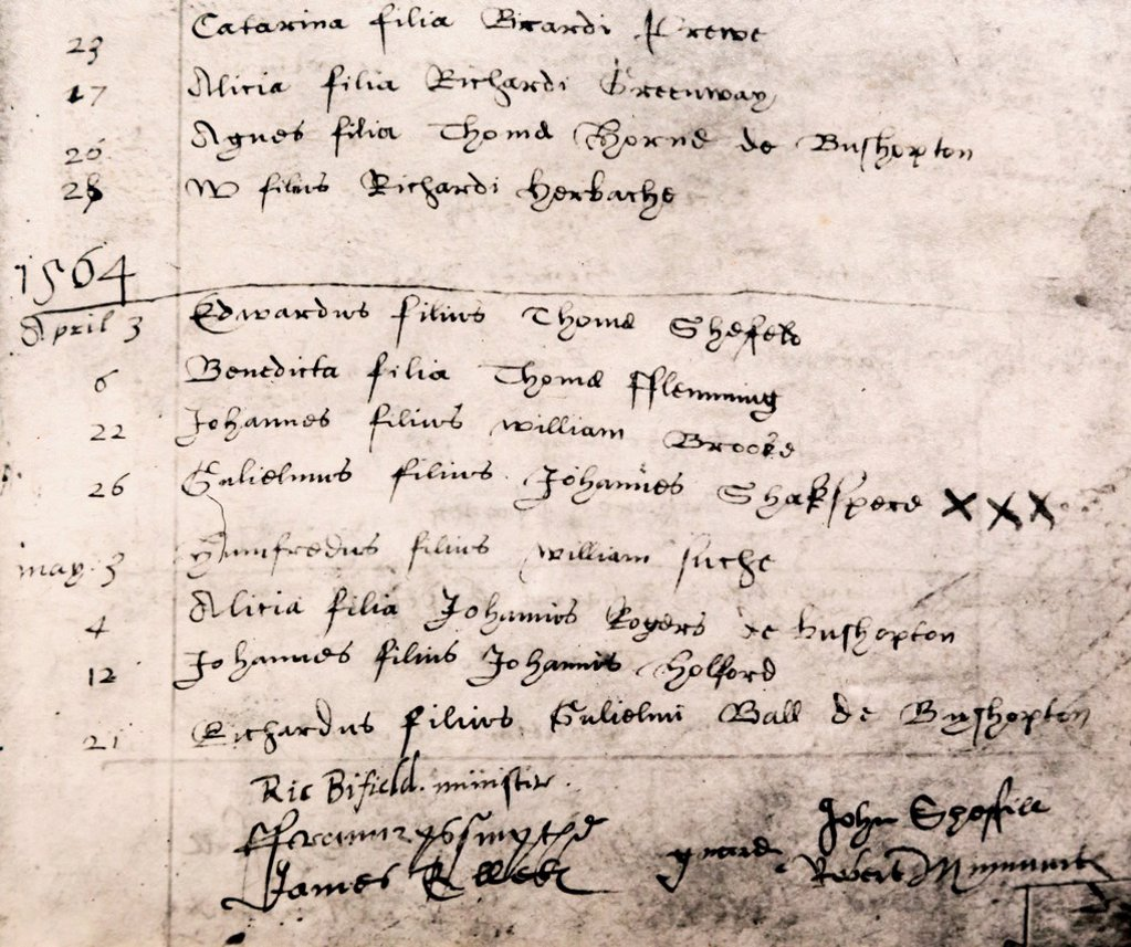 Stratford Upon Avon Warwickshire England Facsimile Register Entry For Baptism Of William Shakespeare On April 26 1564 Displayed In Holy Trinity Church