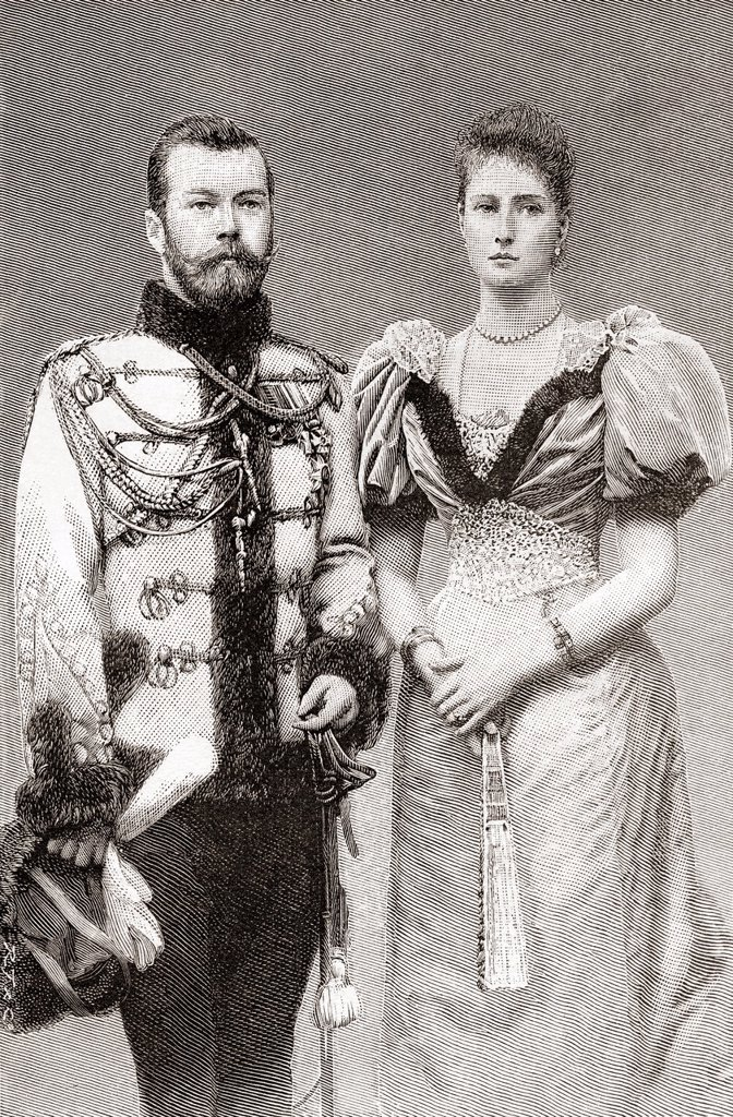 Nicholas II, 1868 – 1918  Last Emperor of Russia, Grand Duke of Finland, and titular King of Poland  Seen here with his wife Alix of Hesse and by Rhine, later Alexandra Feodorovna, 1872 – 1918  Empress consort of Russia  From The Strand Magazine, published 1896 : Stock Photo