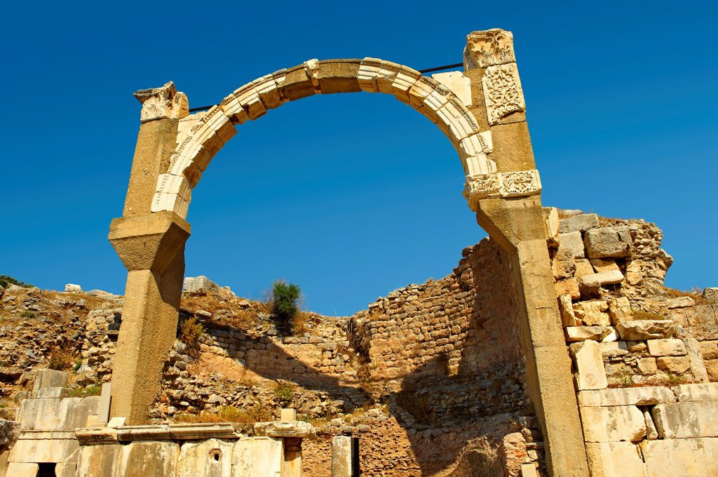 Arch of The Roman Pollio Fountain, early 1st century B C  Ephesus Archaeological Site, Anatolia, Turkey : Stock Photo