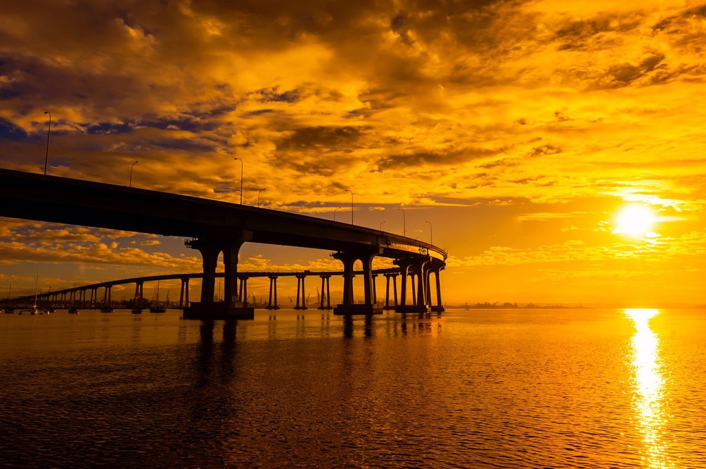 Stock Photo: 1566-1247104 Coronado Bridge, Coronado Island San Diego, California USA