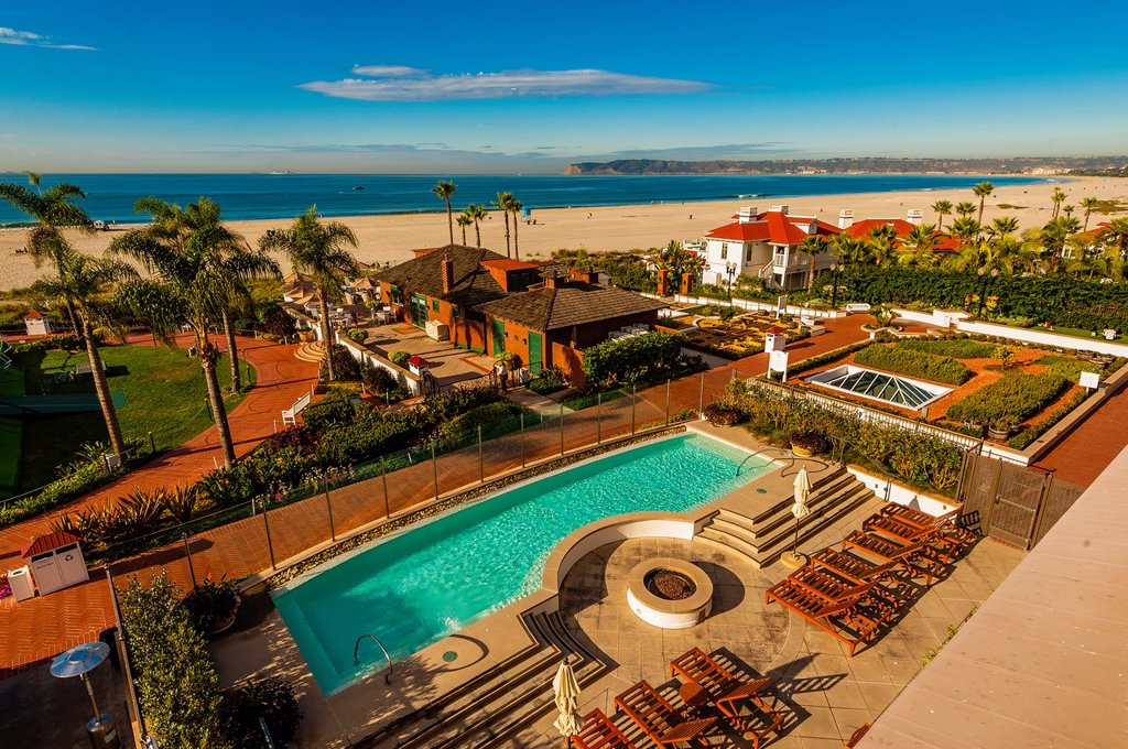 Stock Photo: 1566-1247114 View from balcony, Hotel del Coronado a beachfront luxury hotel, Coronado Island San Diego, California USA