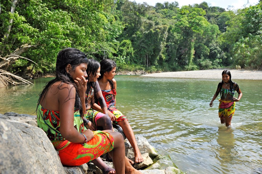 Stock Photo: 1566-1247521 Esilda and her friends by the river, young teenagers of Embera native community living by the Chagres River within the Chagres National Park, Republic of Panama, Central America