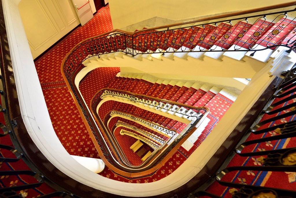 Stock Photo: 1566-1249207 Hotel Carlton Stairs, Bilbao, Basque Country, Biscay, Spain