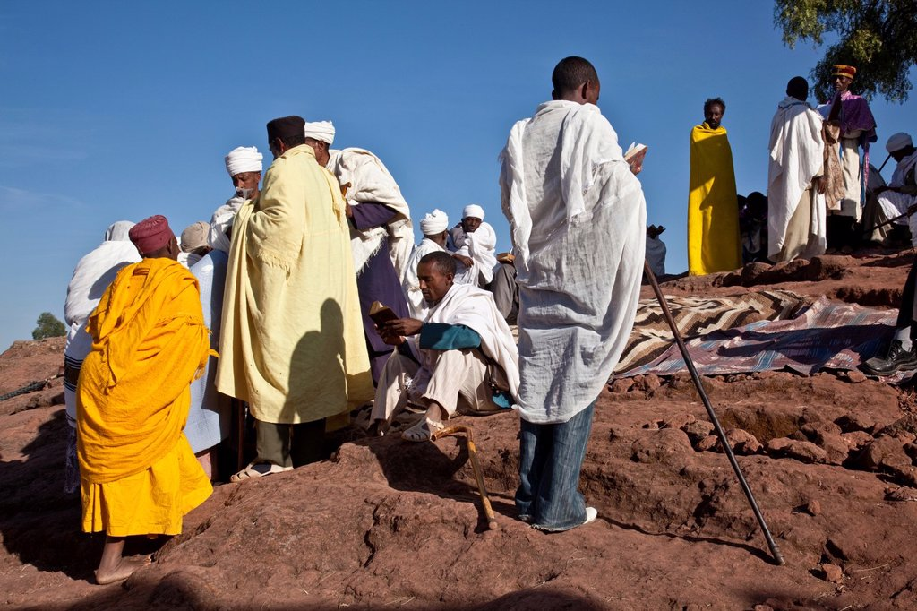 Christian Pilgrims Attending An Outdoor Church Service, Lalibela, Ethiopia : Stock Photo