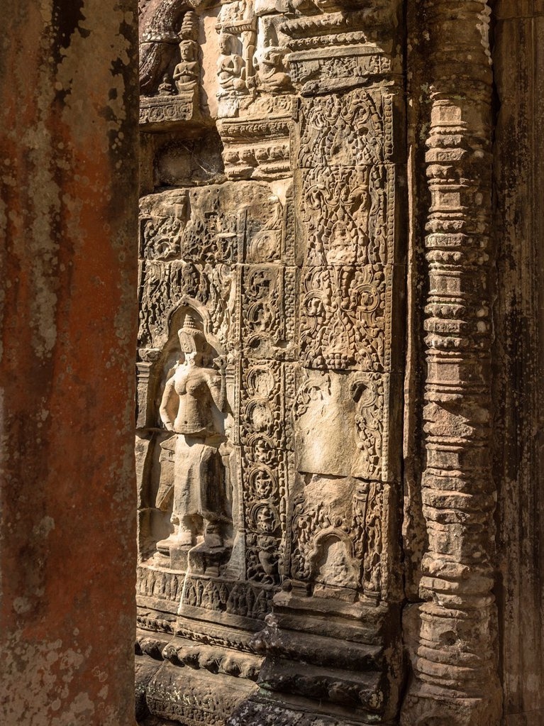 Stock Photo: 1566-1250405 Banteay Kdei  Prasat Banteay Kdei, meaning ´A Citadel of Chambers´, also known as ´Citadel of Monks´ cells´, is a Buddhist temple in Angkor, Cambodia  It is located southeast of Ta Prohm and east of Angkor Thom  Built in the mid-12th to early 13th centuries AD during the reign of Jayavarman VII, it is in the Bayon architectural style, similar in plan to Ta Prohm and Preah Khan, but less complex and smaller  Its structures are contained within two successive enclosure walls, and consist of two co