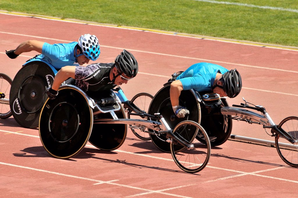 Stock Photo: 1566-1251699 Competition for disabled athletes in wheelchairs