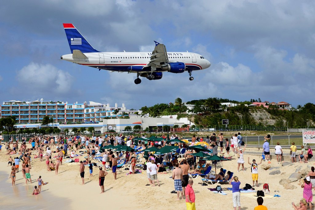 Stock Photo: 1566-1251795 Maho Beach Airplanes St  Martin Maarten Caribbean Island Netherland Antilles