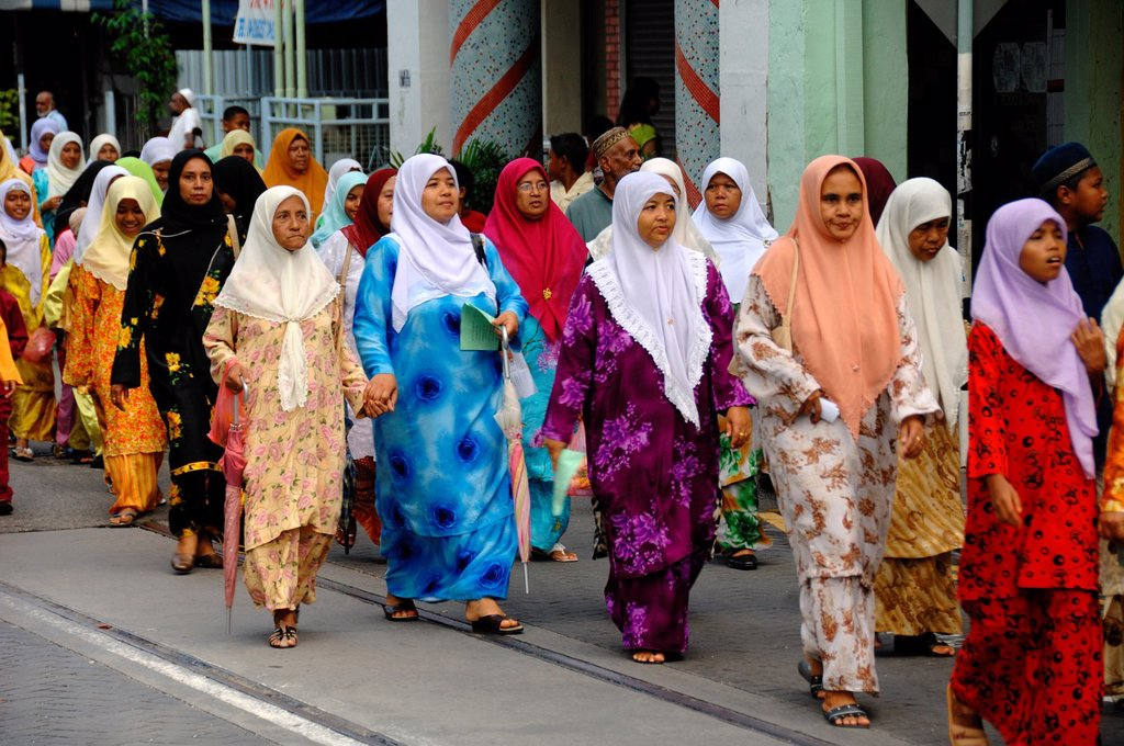 Stock Photo: 1566-1253545 Procession of Malay Muslim Women for Festival of the Prophet´s Birthday Georgetown Penang Malaysia