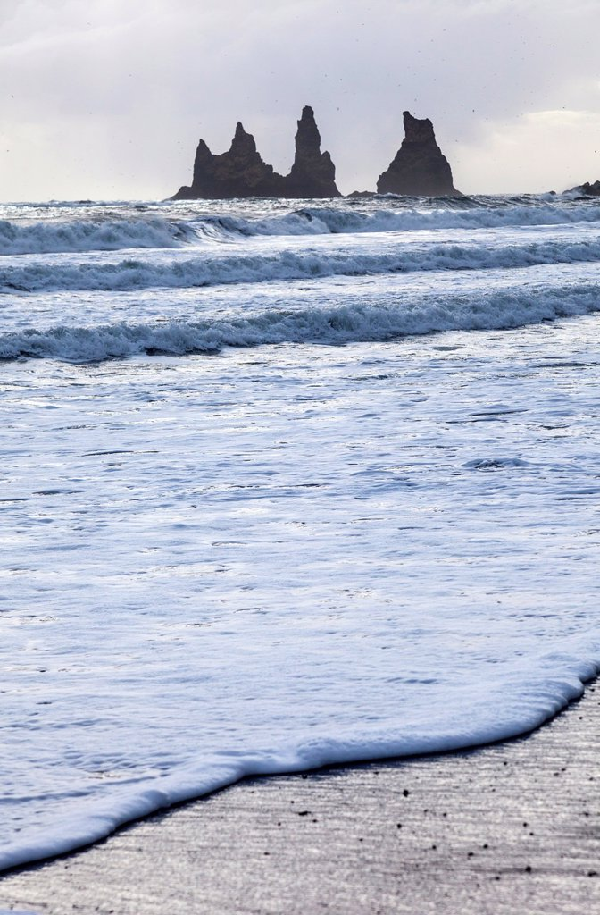 Rock formations and sea surf at Dyrholaey, ISouthern Iceland, Iceland, Europe. : Stock Photo