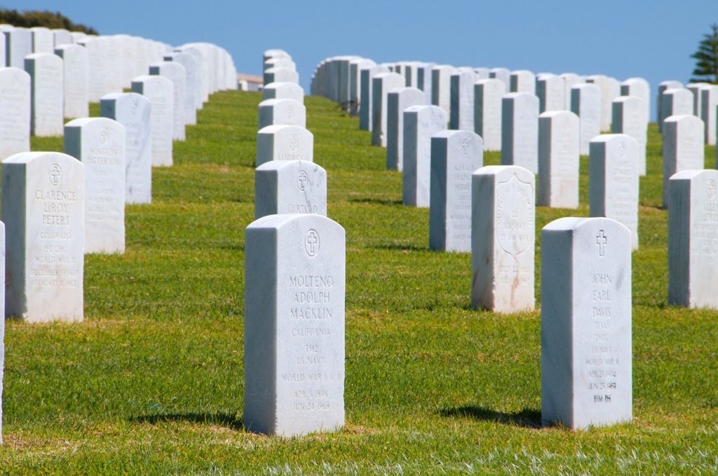 Stock Photo: 1566-1258233 Headstones, Fort Rosecrans National Cemetery, San Diego, California