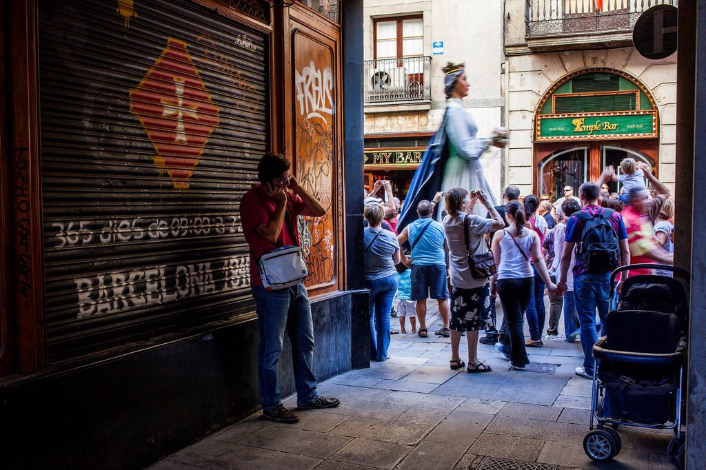 Stock Photo: 1566-1258584 Giants during La Merce Festival, in Ferran street  Barcelona  Catalonia  Spain
