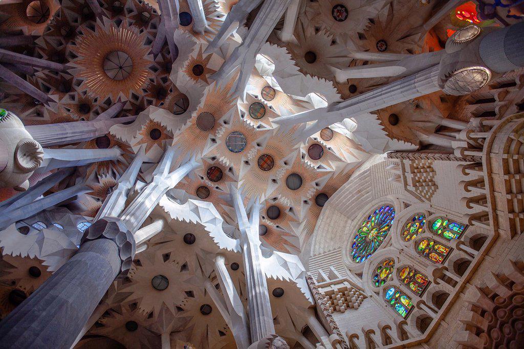 Stock Photo: 1566-1258605 Interior of Basilica Sagrada Familia,transept, Barcelona, Catalonia, Spain