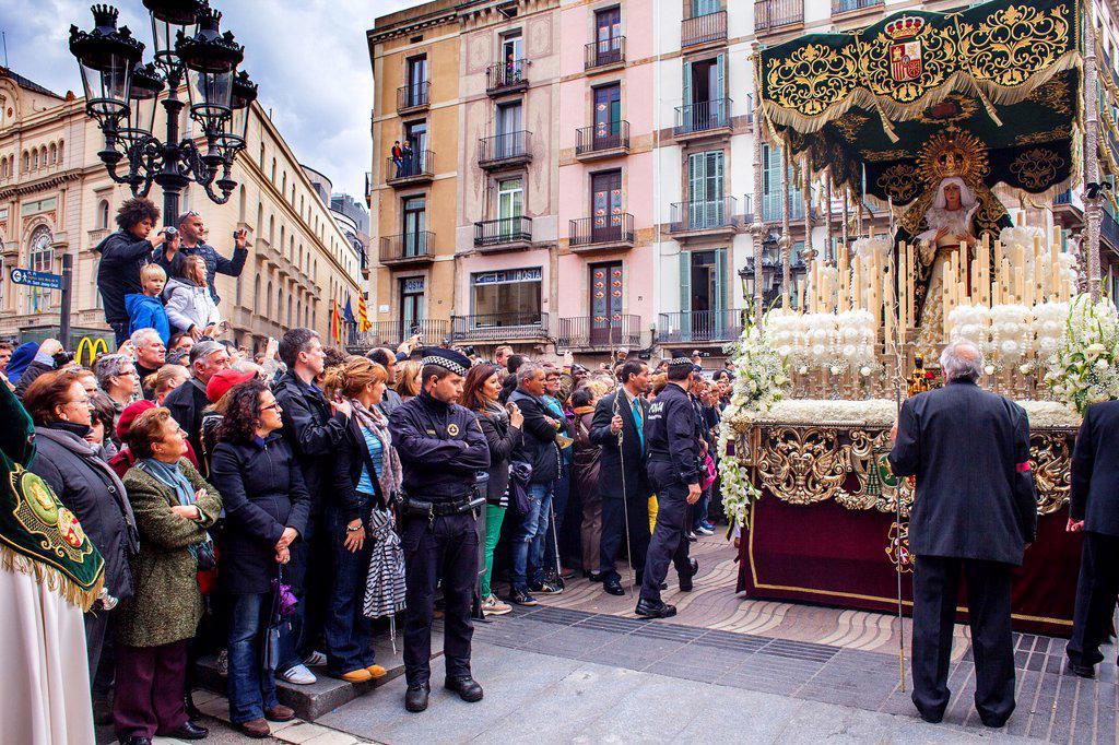 Stock Photo: 1566-1258635 procession, sisterhood of Jesus del Gran Poder y virgen de la Macarena, Statue usually in the San Agustin church, Good Friday, Easter week, La Rambla, Barcelona, Catalonia, Spain