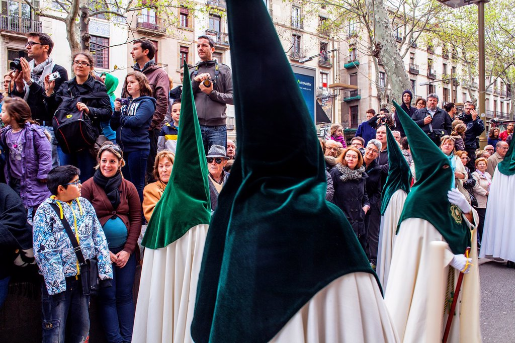 Stock Photo: 1566-1258638 procession, sisterhood of Jesus del Gran Poder y virgen de la Macarena, Statue usually in the San Agustin church, Good Friday, Easter week, La Rambla, Barcelona, Catalonia, Spain