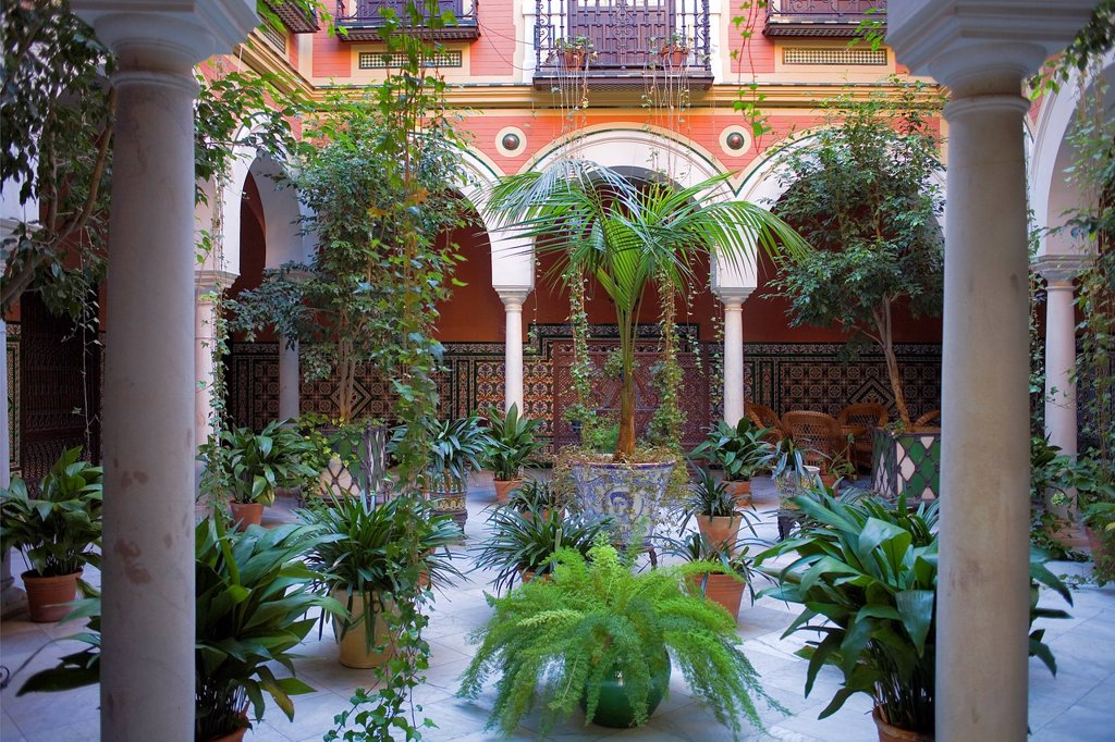 Stock Photo: 1566-1258711 Typical courtyard in Ximenez de Enciso Street, Santa Cruz quarter,Sevilla,Andalucía,Spain
