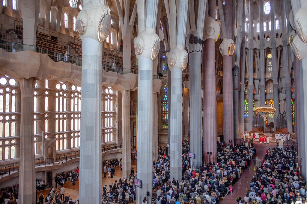Mass,Interior of Basilica Sagrada Familia,nave, Barcelona, Catalonia, Spain : Stock Photo