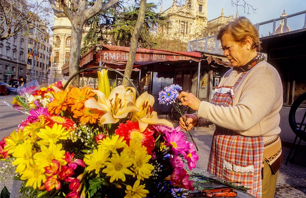 flower stand,Plaza del Ayuntamiento,Valencia,Spain : Stock Photo
