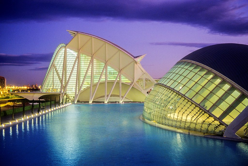 Stock Photo: 1566-1258895 The Hemisferic and the Príncipe Felipe Sciences Museum,City of Arts and Sciences, by S  Calatrava  Valencia  Spain