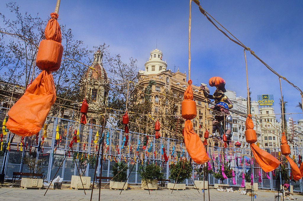 Stock Photo: 1566-1258947 `Mascleta´ firecrackers and falla in Plaza del Ayuntamiento,Fallas festival,Valencia,Spain