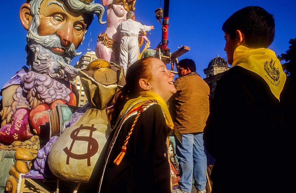 Stock Photo: 1566-1258963 Plantá,building the falla,Falla of Bailen Xativa streets,Fallas Festival, Valencia,Spain