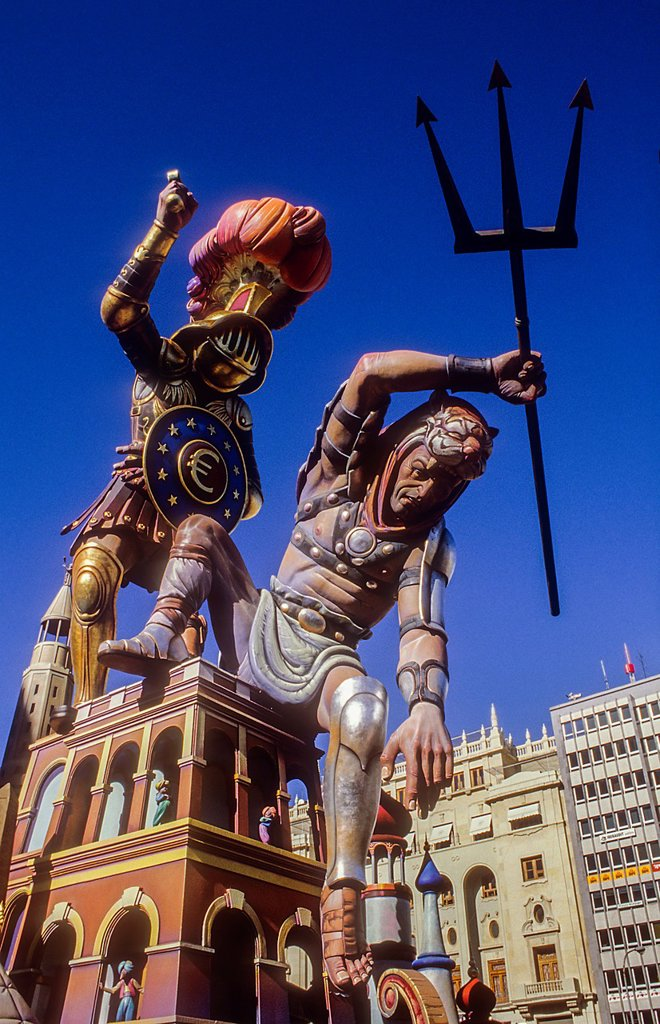Falla of Plaza del Ayuntamiento,Fallas festival,Valencia,Spain : Stock Photo
