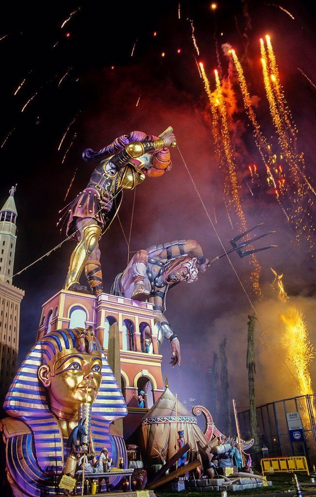 Falla of Plaza del Ayuntamiento and fireworks,Fallas festival,Valencia,Spain : Stock Photo