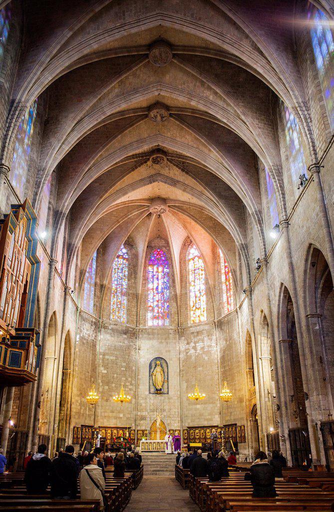 Stock Photo: 1566-1258980 Iglesia del Pi, in Plaça del Pi, Barrio Gotico, Barcelona  Catalonia, Spain