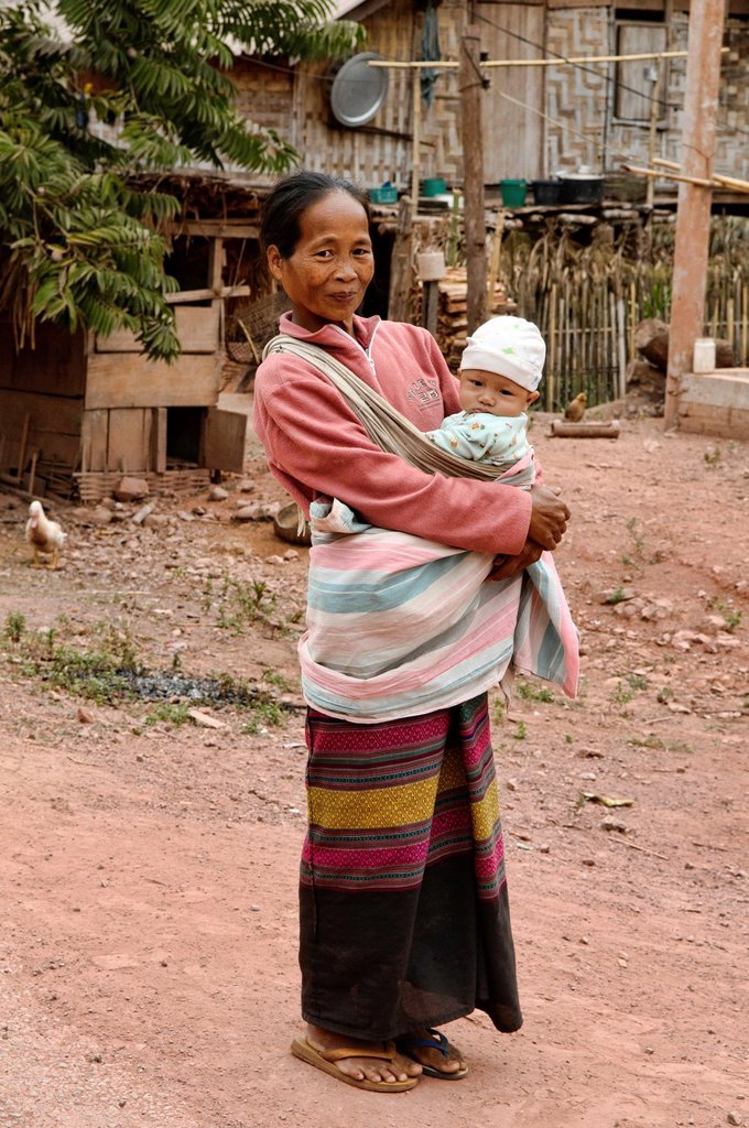 Stock Photo: 1566-1259550 portrait of an ethnic Khmu grandmother and child, Luang Nam Tha, Laos