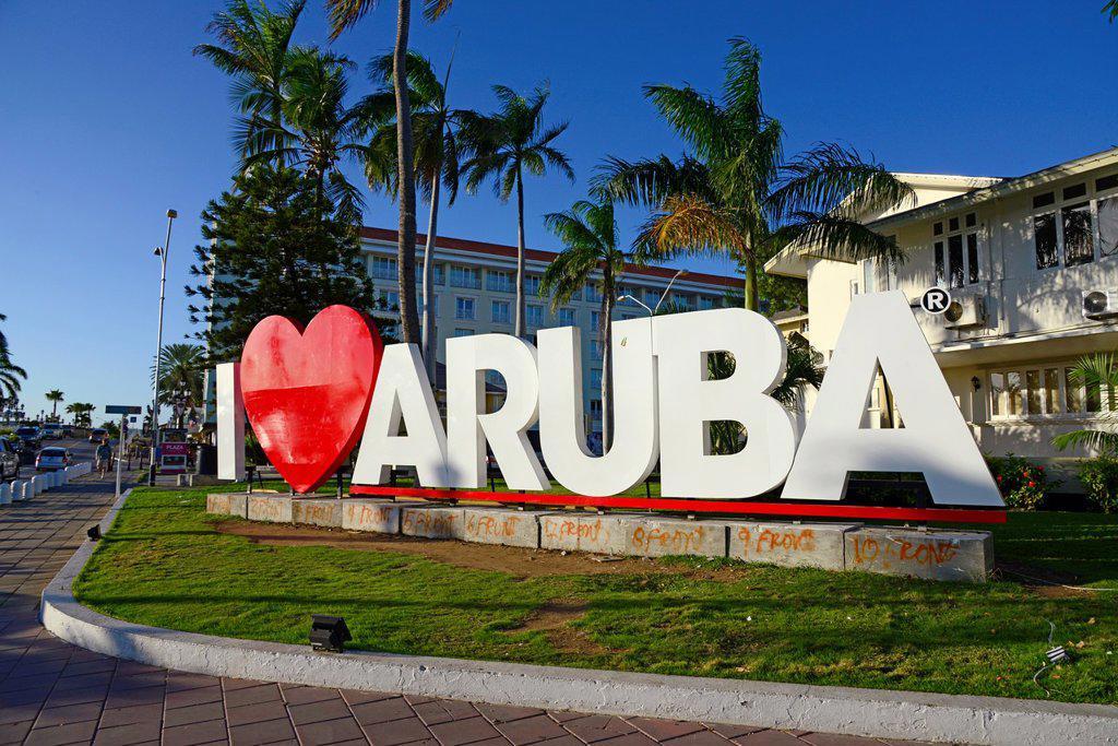 Stock Photo: 1566-1260902 I Love Aruba Sign Oranjestad Netherland Antilles NA Caribbean