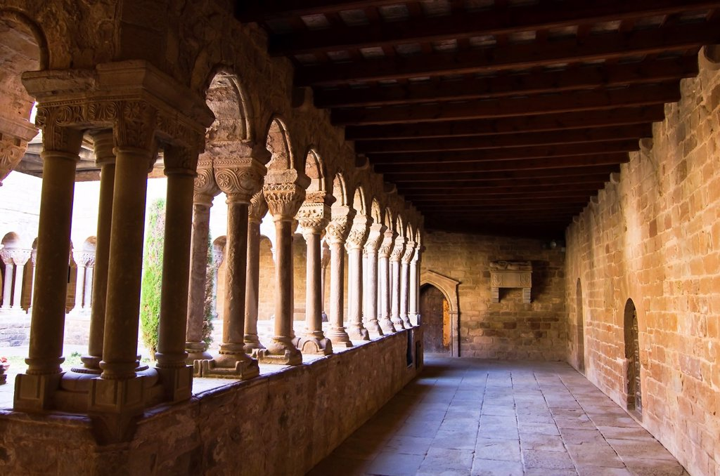 Stock Photo: 1566-1261196 Romanesque cloister of the monastery of Santa Maria - L´Estany - Bages - Barcelona - Catalonia - Spain - Europe