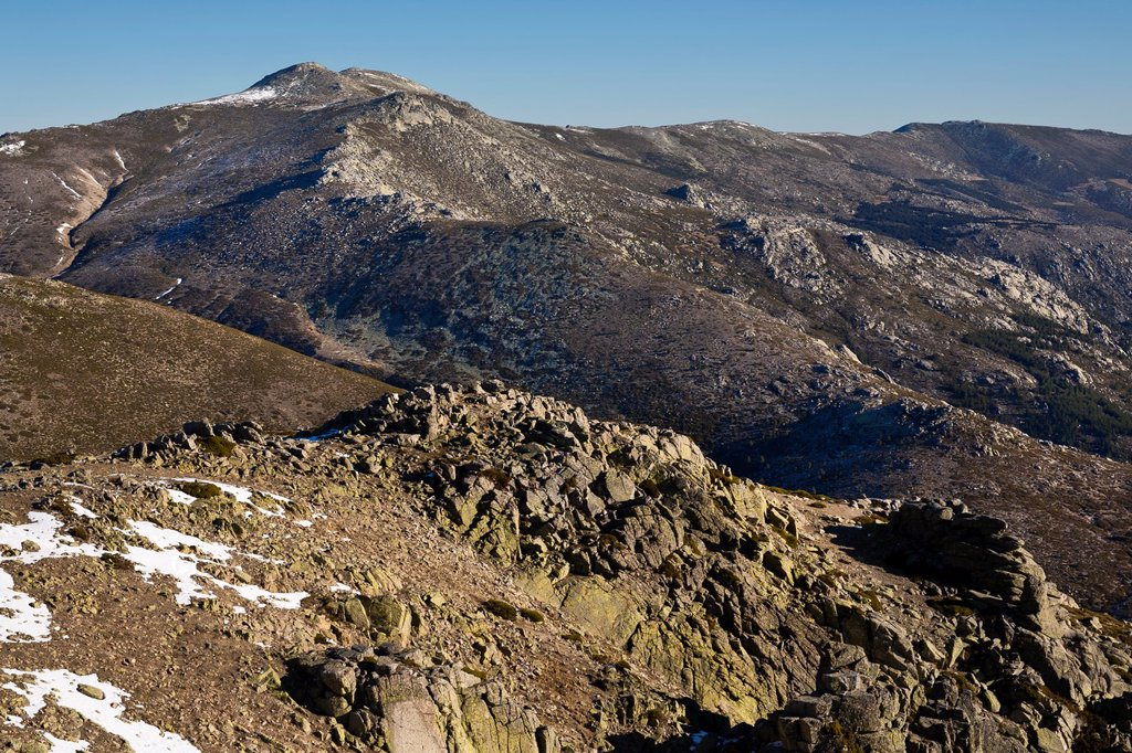 Stock Photo: 1566-1262266 The Cuerda Larga from Maliciosa peak  Sierra de Guadarrama  Madrid  Spain